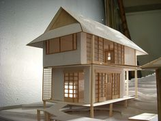 A project for a studio class. In teams of we built houses that fit an architectural style and integrated them into an environment with a shared common area and walkway. Our group chose a traditional Japanese theme. Japanese Modern, Compact Living, Common Area, Gazebo, Building A House, Environment, Outdoor Structures, Cabin, Traditional