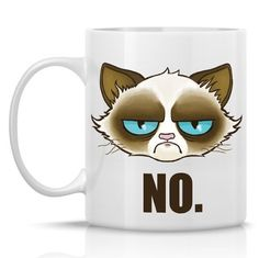 """Cactus the Cranky Cat Mug (Similar to Grumpy Catâ""""¢), 'NO' 11oz Funny Cat Mug, Grumpy Cat Mug No Mug -- Review more details here (This is an amazon affiliate link. I may earn commission from it)"""