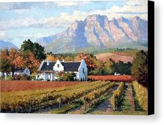 Wine Farm Canvas Print featuring the painting Cape Dutch Wine Farm by Roelof Rossouw