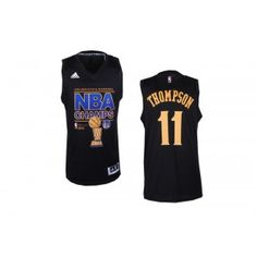 1280a3a89 Mens Golden State Warriors Klay Thompson Number 11 Jersey Black 2015 NBA  Finals Champions http
