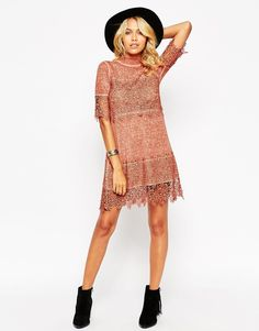 Image 4 ofASOS PETITE Washed Swing Dress with 3D Lace