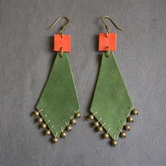 Leather earrings 'Dima'. $44.00, via Etsy.