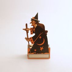 Vintage Halloween Decoration Witch Die Cut Made in by efinegifts