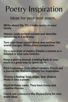 Check out these ideas for your next poem. If you're a student, show us what you wrote and submit to Radiate Literary Journal to inspire others. Poem Ideas, Excited To See You, Poetry Inspiration, Inspire Others, Understanding Yourself, Haiku, Nonfiction, Poems, Writer