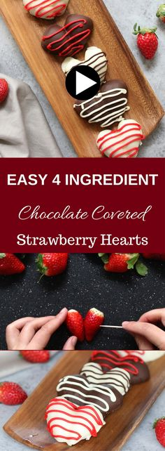 Chocolate Covered Strawberry Hearts recipe is super easy and only need 4 ingredients! These Chocolate Covered Strawberry Hearts are a fun variation for Valentine's Day or any occasion calling for romance… Make them for your sweetheart, and make some for yourself while you're at it!