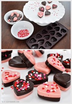 Chocolate Valentine Hearts - Vicky Barone - Easy DIY Chocolate Hearts perfect for edible wedding favors Valentine Chocolate, Chocolate Hearts, Homemade Chocolate, Chocolate Recipes, Chocolate Chocolate, Valentine Desserts, Valentines Day Treats, Valentine Nails, Holiday Desserts