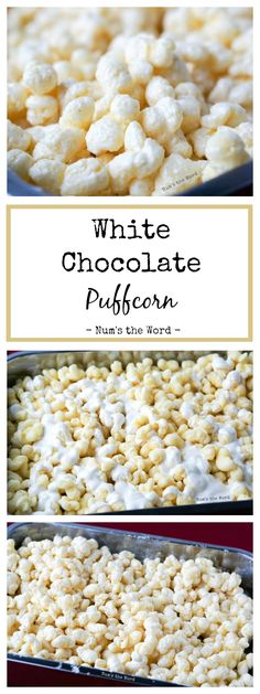 White Chocolate Puffcorn is the easiest 10 minute treat that works well at any gathering!  Baby Shower, Bridal Shower, Birthday Party or Christmas gift!