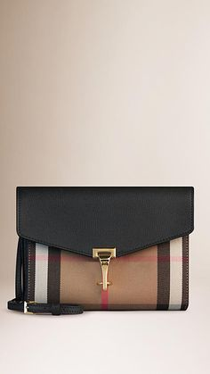 Black Small Leather and House Check Crossbody Bag - Image 1