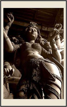 "'Durga statue' in West Bengal photographed by Celina Mahek. ""Durga - Invincible, destroyer of all evil and diseases - she is the embodiment of 'Shakti', a culmination of the powers vested in the Hindu Gods."" via celinamahek on trek earth Sacred Feminine, Divine Feminine, Ancient Aliens, Religions Du Monde, Durga Goddess, Indian Goddess, Durga Maa, Hanuman, Sanskrit"