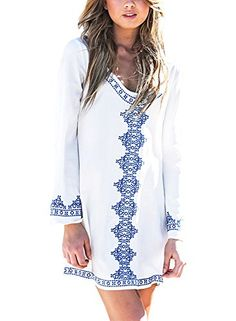 Singlelady Women's Embroidery Long Sleeve Pompom Beach Cover up Tunic Dress * For more information, visit image link.