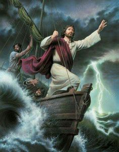 """Luke 8:23.   """"But while they were sailing he went to sleep: and a storm of wind came down on the sea, and the boat became full of water and they were in danger.  And they came to him, and awoke him, saying, Master, master, we perish. And he awoke, and rebuked the wind and the raging of the water: and they ceased, and there was a calm"""""""