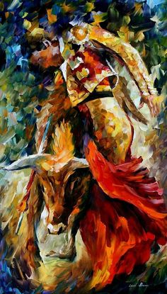 CORRIDA - DANCE WITH THE BULL - PALETTE KNIFE Oil Painting On Canvas By Leonid Afremov - http://afremov.com/CORRIDA-DANCE-WITH-THE-BULL-PALETTE-KNIFE-Oil-Painting-On-Canvas-By-Leonid-Afremov-Size-24-x40.html?utm_source=s-pinterest&utm_medium=/afremov_usa&utm_campaign=ADD-YOUR