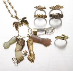A selection of hand motif jewelry.Via Pippa Tree, Ms. Tree is always writing about fascinating Jewels & Treasures from the past.