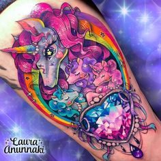 Glitter rainbow unicorn family tattoo by Source: unicorngalaxycom Girly Tattoos, Badass Tattoos, Love Tattoos, Beautiful Tattoos, Body Art Tattoos, Kawaii Tattoos, Best 3d Tattoos, Warrior Tattoos, Tatoos