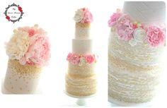 Ivory, Pink & Gold Wedding Cake