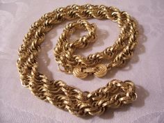 Monet Twisted Rope Necklace Gold Tone Vintage Imprinted Textured Long $89 - http://PrettyJewelryThings.com - #monetvintagejewelry #monettwistedropechain #monetvintagenecklaces #monetgoldlinkchain #holidaygifts #christmasgifts