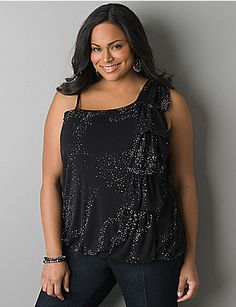 0963252c3c9 One shoulder glitter bubble top by LANE BRYANT