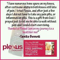 Knee pain?  Try Plexus!  Www.KCSmith.myplexusproducts.com #335588