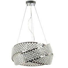 Mobius 8-Light Crystal 24 Inch Wide Chandelier Ceiling Light Fixture (Chrome) This high dazzling chandelier will illuminate your dining or living room with style and flair. Its high end clear cast polished Crystal prisms create a visual focal point that draws the eye. Its first quality K9 Crystal is machine cut and flawless. This visually pure lighting fixture is characterized by its prismatic brilliance.