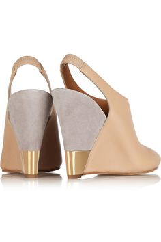 Heel measures approximately 4 inches Beige leather Elasticated slingback  strapSmall to size. 09ef25eb9c32a