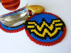 Items similar to Wonder Woman logo coaster. Set of 4 on Etsy Melty Bead Patterns, Pearler Bead Patterns, Perler Patterns, Pearler Beads, Fuse Beads, Beading Patterns, Wonder Woman, Geek Perler, Hamma Beads Ideas