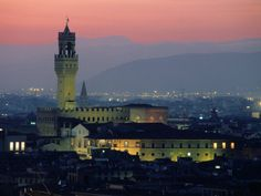 City Skyline, with Palazzo Vecchio, Illuminated at Dusk, Florence, Tuscany, Italy Photographic Print by John Elk III at AllPosters.com