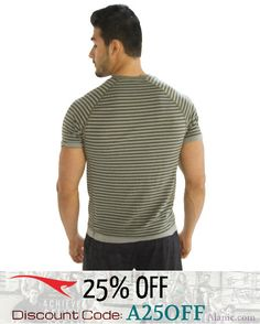"""Men's Striped Grey Half Sleeve T-Shirt (Use Code """"A25OFF"""" & get 25% discount)"""