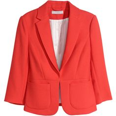 H&M Textured jacket ($30) ❤ liked on Polyvore featuring outerwear, jackets, blazer, red, h&m, h&m jackets, lined jacket, 3/4 sleeve jacket and textured jacket