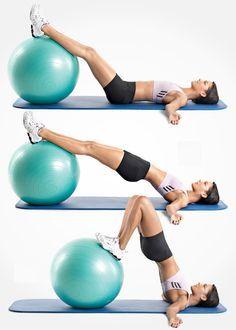 swiss ball leg and hip raise