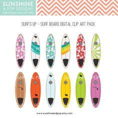 surfboard clip art | 12 Surfboard Digital Clip Art Pack - INSTANT DOWNLOAD Hawaiian Surf's ...