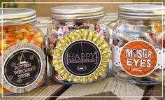 Halloween treat jars with free label printables.