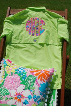 6f12d31eb3 Lilly Pulitzer Monogrammed Columbia PFG Fishing Shirt Fabric Swim Suit Cover  Up