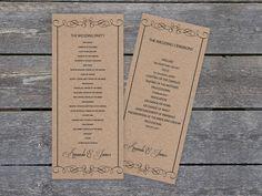 Printable Wedding Programs, Wedding Ceremony Programs, Wedding Reception Decorations, Binder Templates, Program Template, Kraft Paper Wedding, Card Box Wedding, Pink Wedding Nails, Cascading Wedding Bouquets