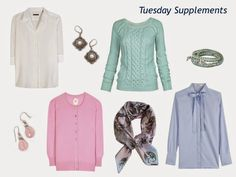 """four pastel tops, with accessories, to wear with a navy six-piece """"Monday Morning Wardrobe"""""""
