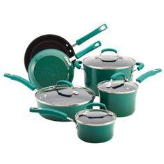 Rachael Ray Porcelain Enamel II Nonstick 10-Piece Cookware Set, Fennel Gradient: Kitchen & Dining
