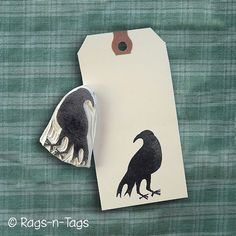 Primitive Crow Hand Carved Rubber Stamp