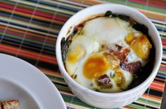 Gossip Chef - Baked Eggs with Bacon and Spinach BAKED EGGS...Sound yummy!