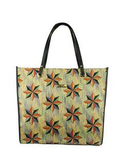 Bolsa modelagem sacola em ráfia e alças de couro. Cristófoli verão 2015