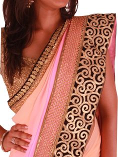 pink-peach-multicolor-georgette-saree-with-black-gold-zari-velvet-border-top_1024x1024.jpg (768×1024)