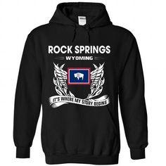 ROCK SPRINGS - Its where my story begins! - #golf tee #tshirt scarf. MORE ITEMS => https://www.sunfrog.com/No-Category/ROCK-SPRINGS--Its-where-my-story-begins-9673-Black-Hoodie.html?68278