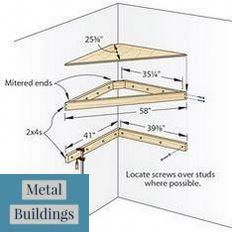 : Corner tv shelf plans Discover Pins about corner t Corner Tv Shelves, Corner Tv Cabinets, Tv Shelf, Shop Buildings, Metal Buildings, Cozy Small Bedrooms, Bedroom Set Designs, Metal Shop Building, Metal Barn Homes