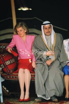 """Princess Diana during a visit to the Kuwait Museum in Kuwait City, March 1989. """"HE'S SITTING ON ME""""!"""