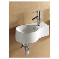 Elanti White Wall-Mount Round Bathroom Sink with Overflow