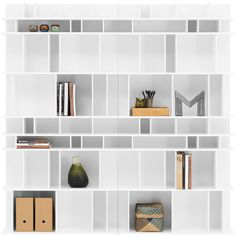"Como wall system, the product is available in different colours. As shown, white lacquer. H80¾xW80¾xD12¼"". [Como - C006]"