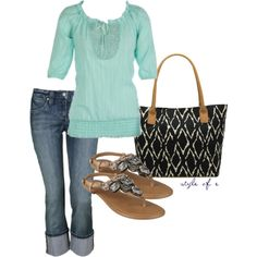 """Light Teal Top"" by styleofe on Polyvore"