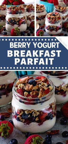 A quick and easy healthy meal you can have on-the-go! Start the day with this Berry Yogurt Breakfast Parfait. This healthy recipe for breakfast has layers of Greek yogurt, granola, berries, and pecans. Save this breakfast idea for a crowd!
