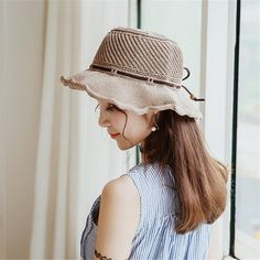 246b3c96a7d Women Breathable Knitted Sunscreen Fisherman Hat Casual Travel Shoppping  Visor Bucket Hat