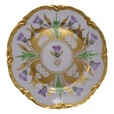 """Hutschenreuther Bavaria Arts & Crafts Thistle Motif Plate (Signed """"N.S.""""/c.1930-1938)"""