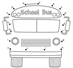 bus worksheets | School Bus - Connect the Dots by Lower Case Letters