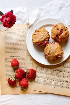 Delicious Whole-wheat Strawberry Muffins! I happen to have bought too many strawberries at HEB too!